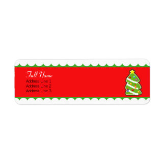 etiqueta confinada verde rojo del árbol de navidad etiqueta de remite