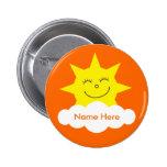 Etiqueta conocida anaranjada feliz adaptable linda pin