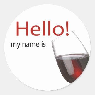 Etiqueta conocida de la degustación de vinos hola