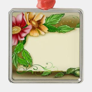 Etiqueta conocida de las flores adorno navideño cuadrado de metal