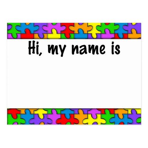 Etiqueta conocida del autismo postal