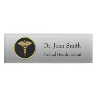 Etiqueta conocida médica del caduceo del oro etiqueta con nombre