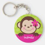 Etiqueta conocida personalizada mono lindo del bol llaveros personalizados