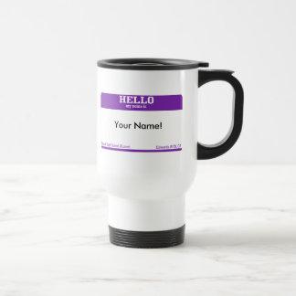 Etiqueta conocida taza de viaje