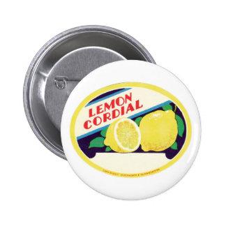 Etiqueta cordial del limón del vintage pins