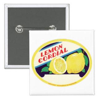 Etiqueta cordial del limón del vintage pin