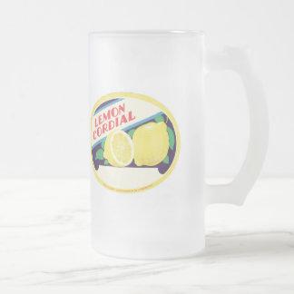 Etiqueta cordial del limón del vintage taza
