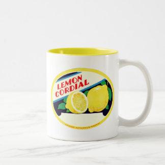 Etiqueta cordial del limón del vintage tazas