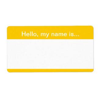 Etiqueta corporativa amarilla y blanca del nombre  etiquetas de envío