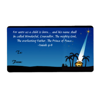 Etiqueta cristiana de la etiqueta del regalo del n etiqueta de envío