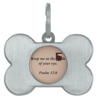 Etiqueta cristiana del mascota placa de nombre de mascota