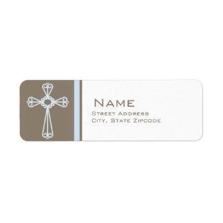 Etiqueta cruzada azul del remite del bautizo etiquetas de remite