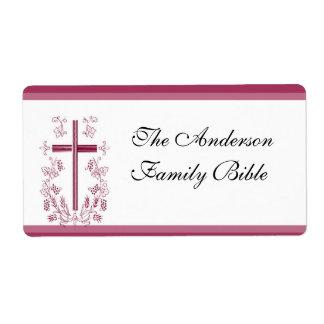 Etiqueta cruzada rosada de la biblia etiquetas de envío