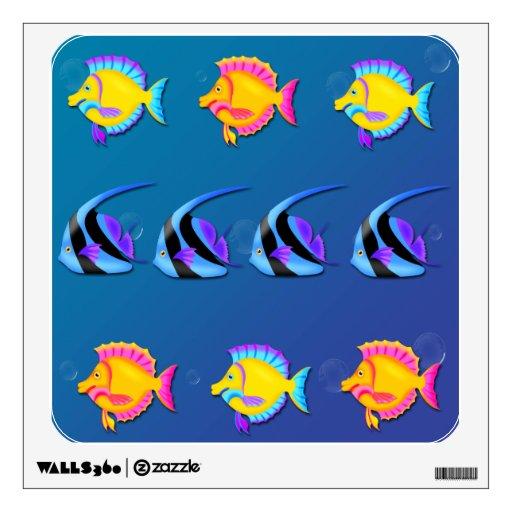 Etiqueta cuadrada de la pared de los pescados 2 tr