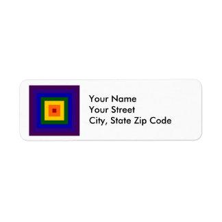 Etiqueta cuadrada del remite del arco iris etiqueta de remitente