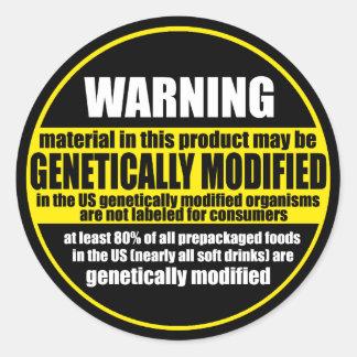Etiqueta de advertencia de GMO organismo genético