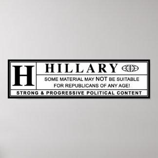Etiqueta de advertencia de Hillary Clinton Póster