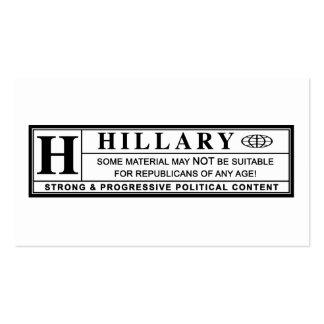 Etiqueta de advertencia de Hillary Clinton Tarjetas De Visita