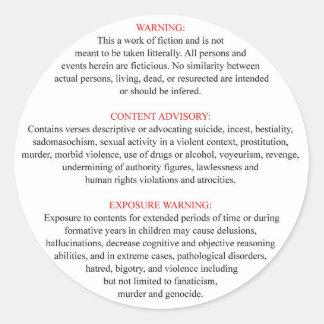 Etiqueta de advertencia de la biblia