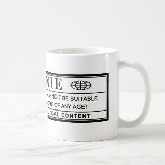 Etiqueta de advertencia de las chorreadoras de taza clásica