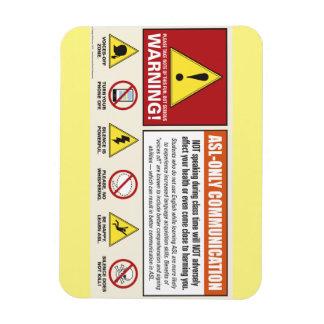 Etiqueta de advertencia. Sala de clase del ASL. Imán Rectangular
