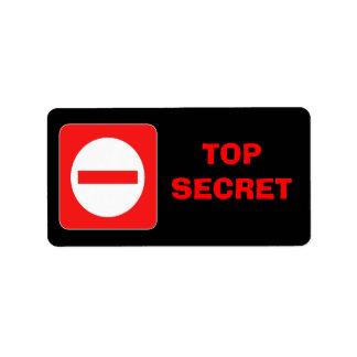 Etiqueta de advertencia secretísima confidencial etiquetas de dirección
