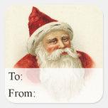 Etiqueta de antaño del regalo del vintage de Santa