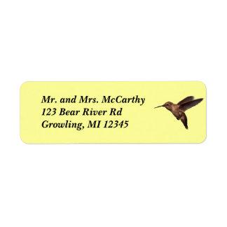 Etiqueta de Avery de la dirección del colibrí Etiqueta De Remitente