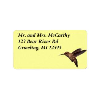 Etiqueta de Avery de la dirección del colibrí Etiquetas De Dirección