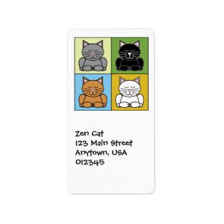 Etiqueta de Avery de la dirección del gato del zen Etiqueta De Dirección