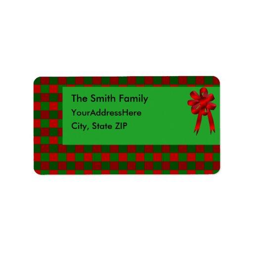 Etiqueta de Avery de la tela escocesa del navidad Etiqueta De Dirección