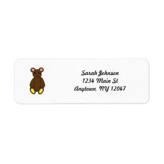 Etiqueta de Avery del oso de Brown Etiqueta De Remite