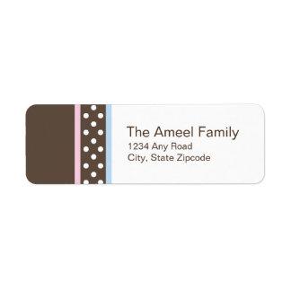 Etiqueta de Brown, rosada y azul del remite Etiqueta De Remite