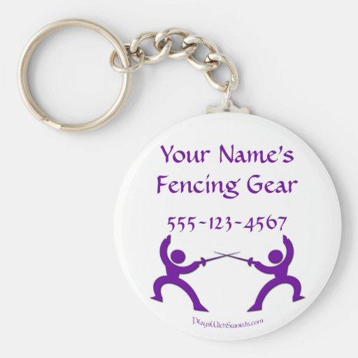 Etiqueta de cercado adaptable del bolso - púrpura llavero redondo tipo pin