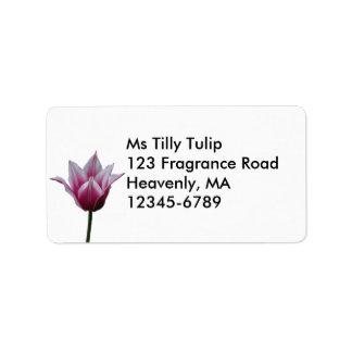 Etiqueta de color de malva del ~ del tulipán etiqueta de dirección