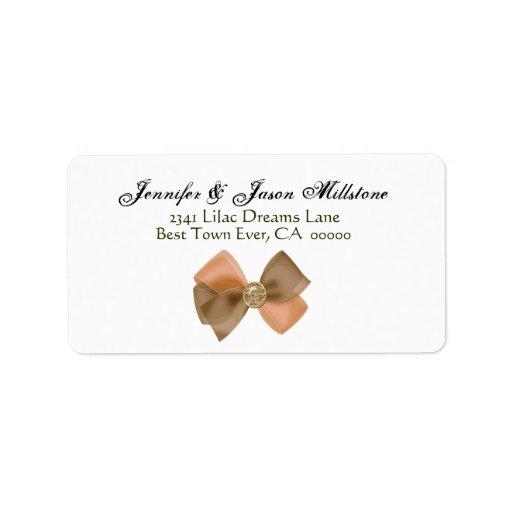 Etiqueta de color salmón romántica del boda del etiqueta de dirección