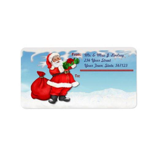 Etiqueta de correo alegre de Santa Etiqueta De Dirección