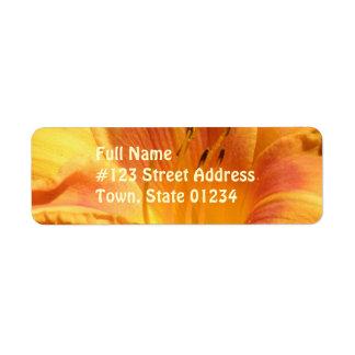 Etiqueta de correo anaranjada del lirio de día etiqueta de remite