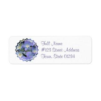 Etiqueta de correo azul del Hydrangea Etiquetas De Remite