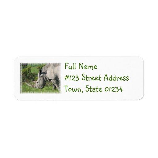 Etiqueta de correo blanca del rinoceronte etiqueta de remite