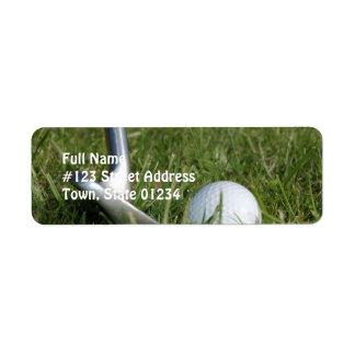 Etiqueta de correo de la foto del golf etiqueta de remitente