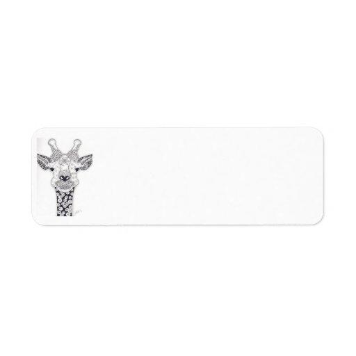 Etiqueta de correo de la jirafa etiqueta de remite