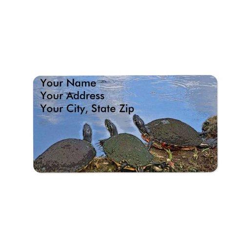 Etiqueta de correo de la tortuga etiquetas de dirección