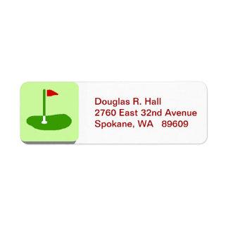 Etiqueta de correo de vuelta del campo de golf etiqueta de remite