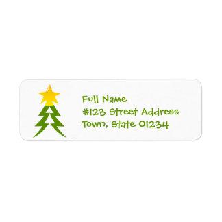 Etiqueta de correo del árbol de navidad etiquetas de remite