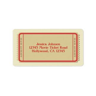 Etiqueta de correo del boleto de la película etiqueta de dirección