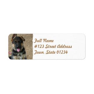 Etiqueta de correo del perrito del pastor alemán etiqueta de remitente