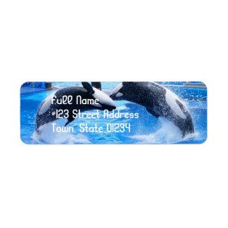 Etiqueta de correo del remite de la ballena etiquetas de remite