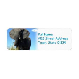 Etiqueta de correo del remite del elefante etiqueta de remite
