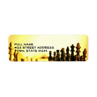 Etiqueta de correo del tablero de ajedrez etiqueta de remite